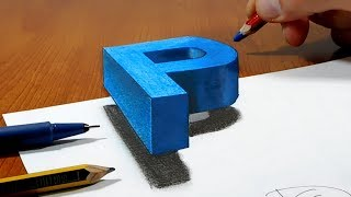 Try to do 3D Trick Art on Paper, floating letter P