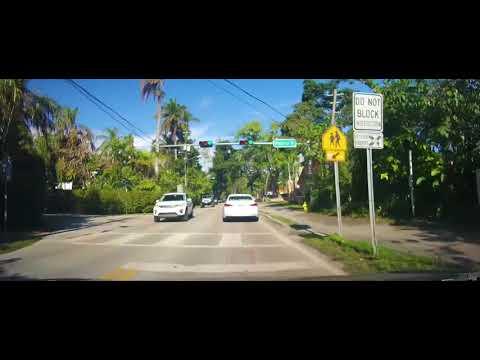 Driving around Coral Gables and Coconut Grove, Florida near Miami