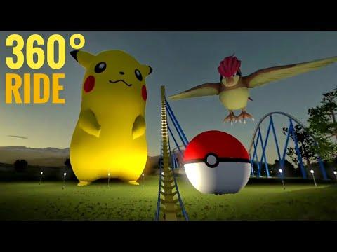 360 Pokémon Night Coaster Video Simulator for Google Cardboard 360° 3D SBS Detective Pikachu 4K VR