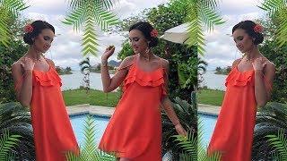 Бузова в ярком платье от своего бренда на Сейшелах