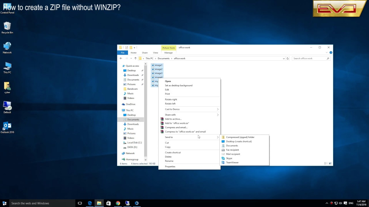 How to create a ZIP file without WINZip