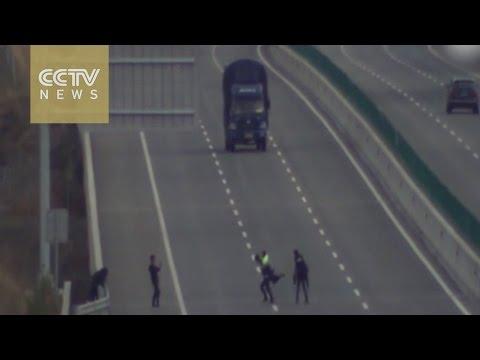 Risky business: Teenagers play chicken on highway