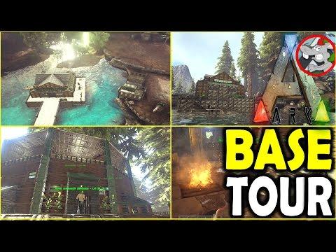 ARK BASE TOURS - FANTASTIC TREEHOUSE / BARN BUILD ARK SURVIVAL EVOLVED