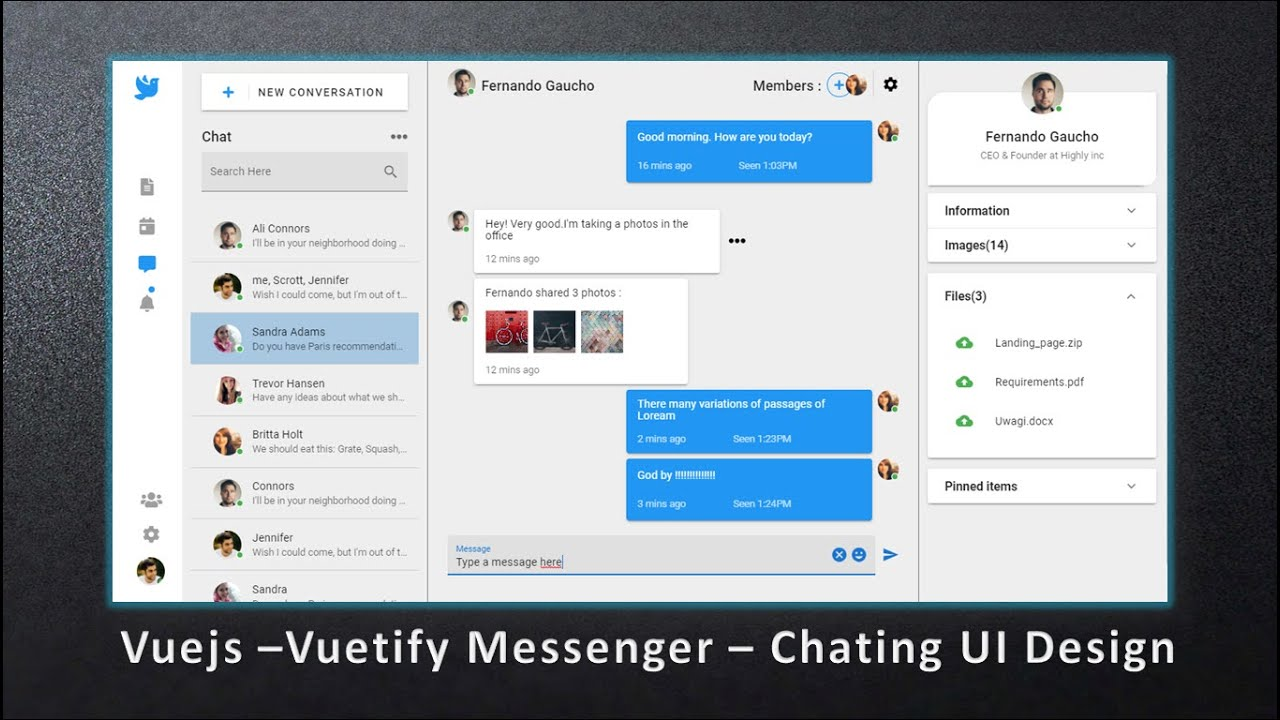 How to Design a Modern Messenger & Chating Dashboard Application using Vuetify and Vuejs 2