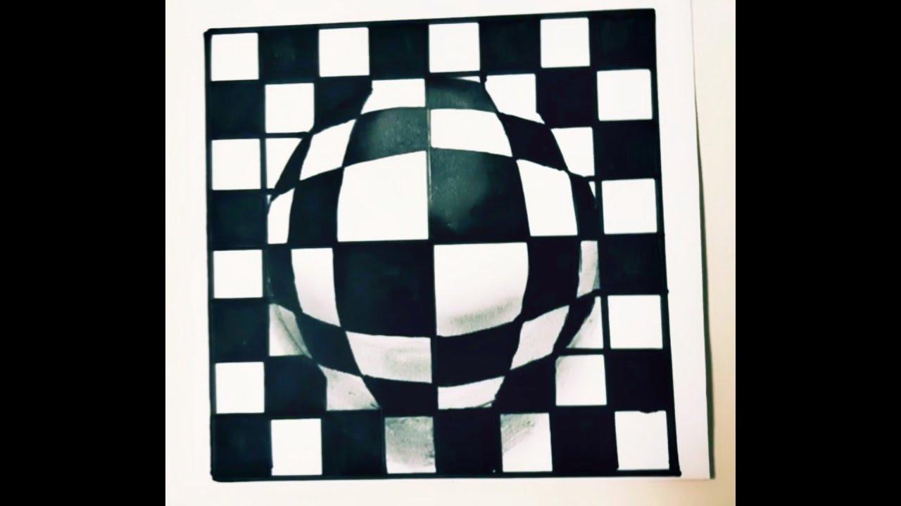 Cách vẽ quả cầu 3D nổi trên giấy. Ảo ảnh quang học | TiMi vẽ 3D.