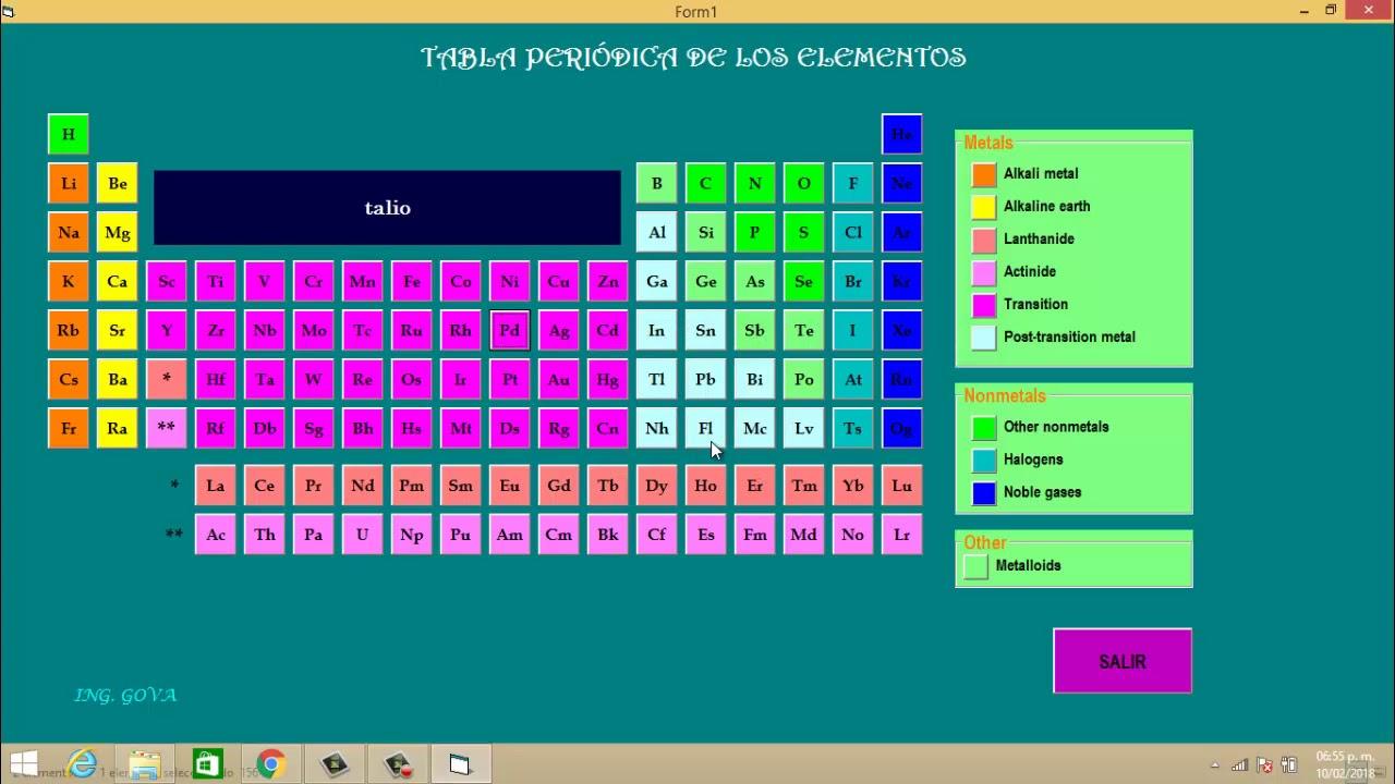 tabla periodica - Tabla Periodica En Visual Basic