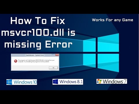 How To Fix Msvcr100.dll Missing Error    Working 100 %    2017    Windows 10/8.1/8/7