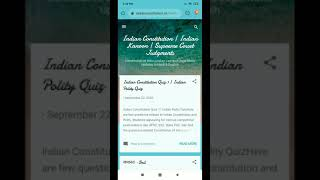 Indian Constitution Quiz | Indian Constitution Questions and Answers