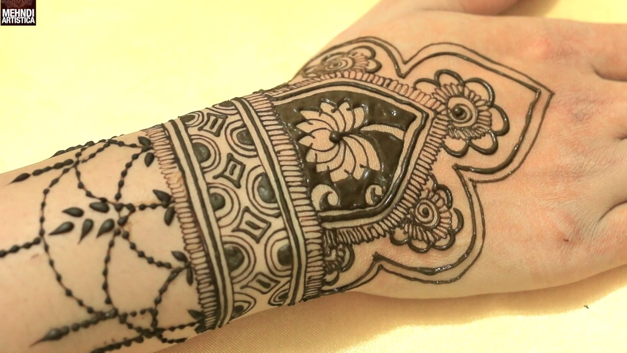 Mehndi Tattoo Cuff : Traditional hand cuff mehandi designslatest elegant beautiful