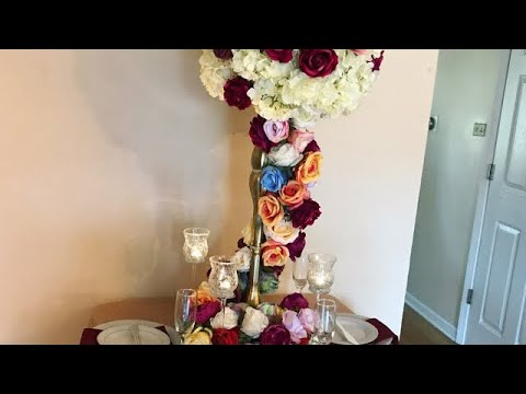 DIY- Dollar Tree Tall Centerpiece DIY Garland Centerpiece DIY/ Rose Garland Decor