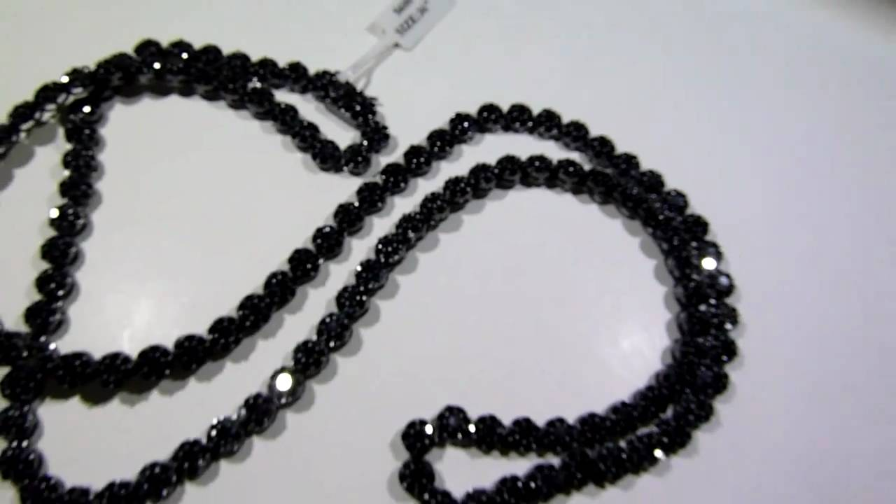 LabMadeJewelry 14995 High Quality BLACK Lab Made Diamond Cluster Chain Video Rick Ross