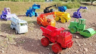 Learn Colors With Cars Toys Sliding Video for Children Excavator Dump Truck Toys for Kids
