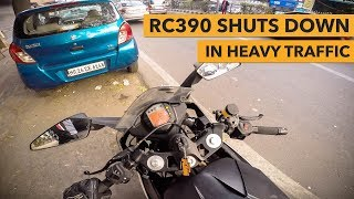 RC 390 shuts down in the middle of traffic!