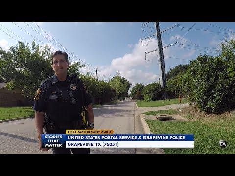 First Amendment Audit - Postal Service & Grapevine PD (Fail)