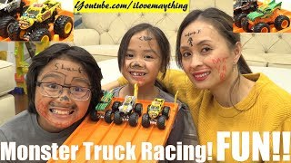 Toy Cars! Racing Monster Trucks! Hot Wheels Monster Jam Drag Racing Playtime with Hulyan and Maya