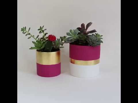 How to Paint Planters with Jolie Paint and Metal Leaf