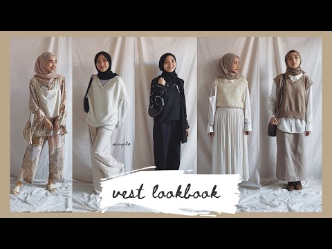 Lookbook: 11 Vest Outfit Ideas / Academia Style / Simple Hijab Outfit // #ootd citraamr - YouTube