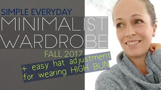 MINIMALIST WARDROBE 2017 •FALL OUTFITS• How to alter a baseball cap for high ponytail/bun hairstyles thumbnail