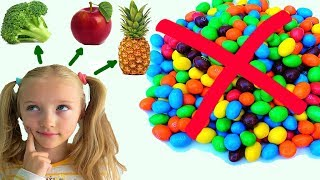 Polina vote for healthy food instead of candies