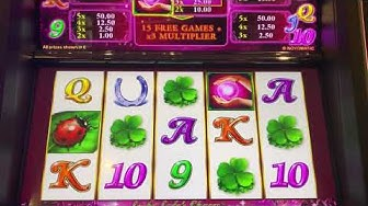 Massive win and loads of re-triggers on Lucky Lady's charm £5 max bet over 100 free spins!