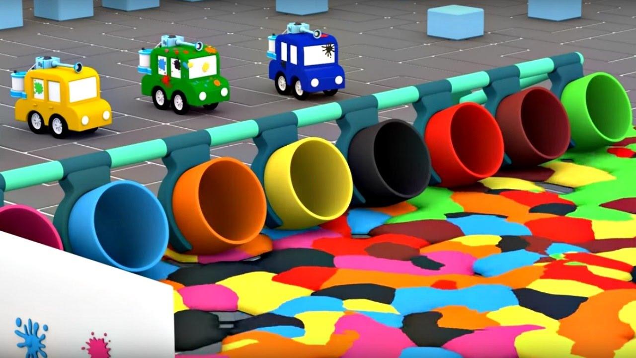 Fabuleux Apprendre les couleurs avec les 4 voitures: Paint-ball - YouTube NH72