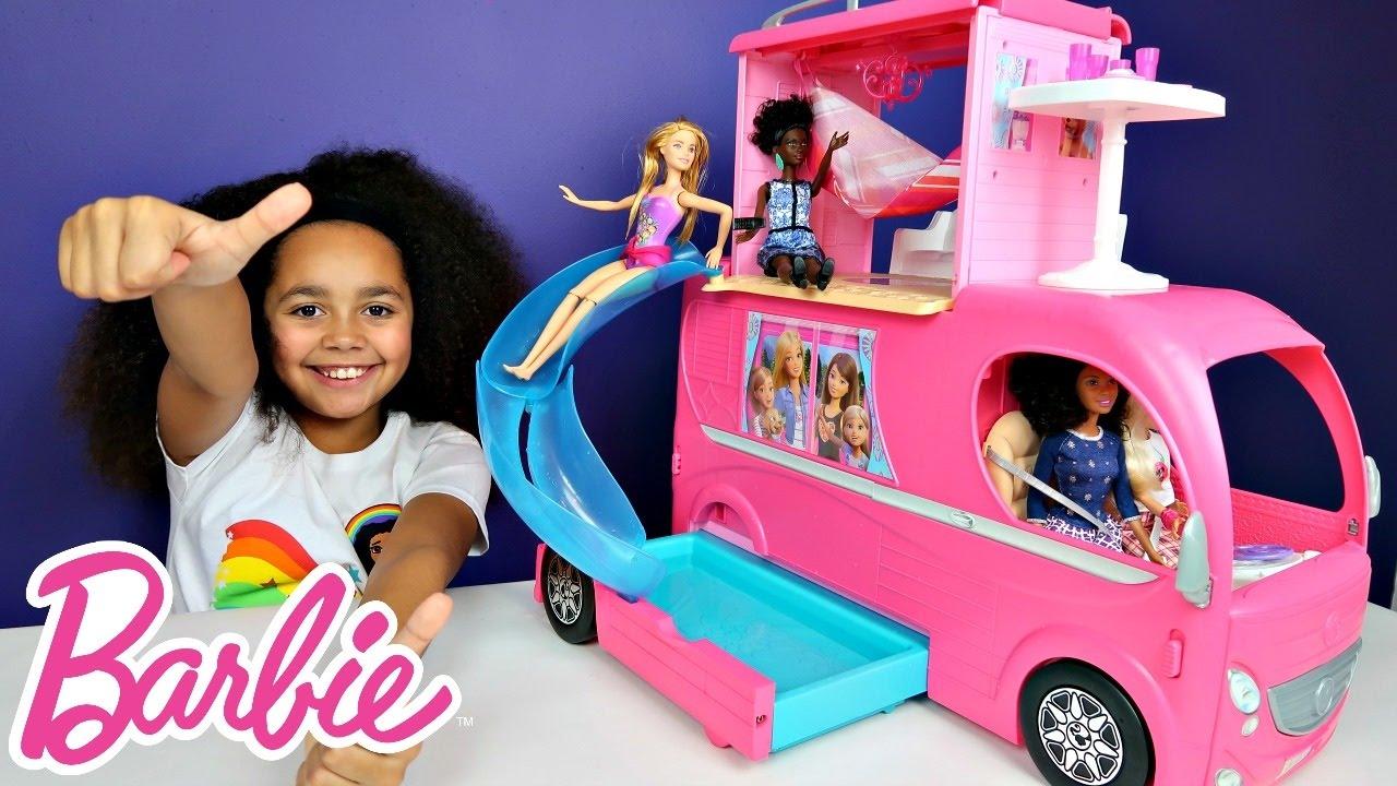 Barbie Pop Up Transform Camper Van Rv Swimming Pool Party Slide Waterpark Adventure Toy