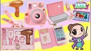 Disney Princess Style Collection Snap and Go Play Camera, Laptop, Beauty Hair Tote  Play Sets