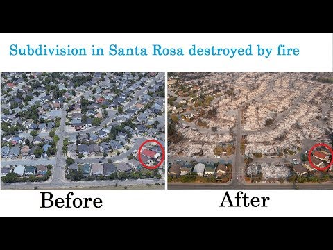 Before and after SANTA ROSA FIRES, WILDFIRES in California, SONOMA, NAPA Country