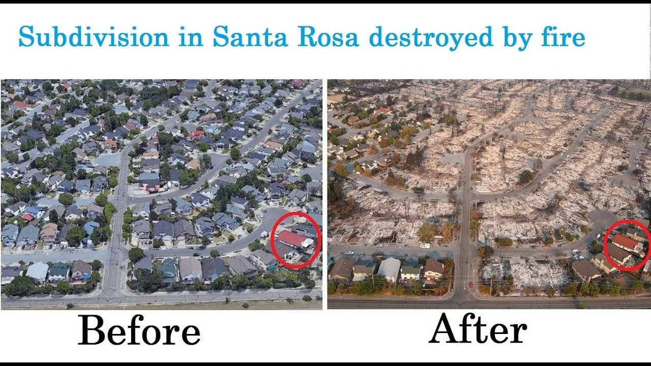Santa rosa fire before and after