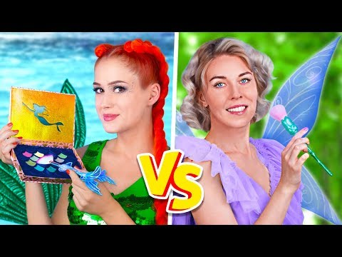 Makeup Challenge! 9 DIY Mermaid Makeup vs Fairy Makeup