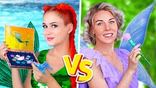 Makeup Challenge! 9 DIY Mermaid Makeup vs Fairy Makeup