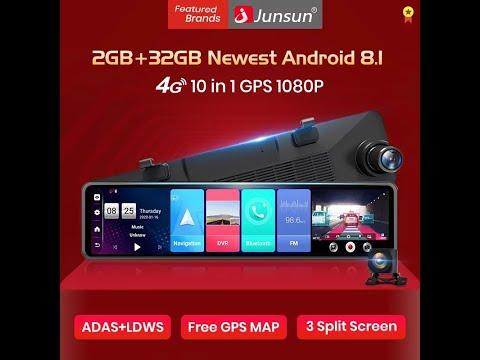 "Автомобильное зеркало Junsun A103. Android8.1, 2ГБ + 32ГБ, 4G, Wi-Fi, Bluetooth, 1080p, 12"", ADAS"