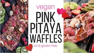 Valentine's Day Pink Pitaya Waffles {vegan + gluten & oil-free}