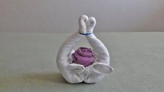 Towel Flower Basket, original design as you had never seen it on YT.