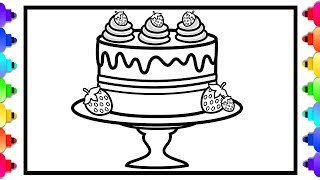 How to Draw a Strawberry Cake for Kids Easy Step by Step 🍰💜🌈 🍓Cake Coloring Page 🍰🌈💜🍓