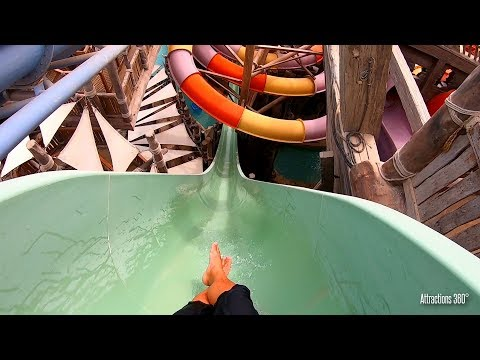 [HD] Trap Door Looping Waterslide & Free Fall Slide POV – YAS Waterworld