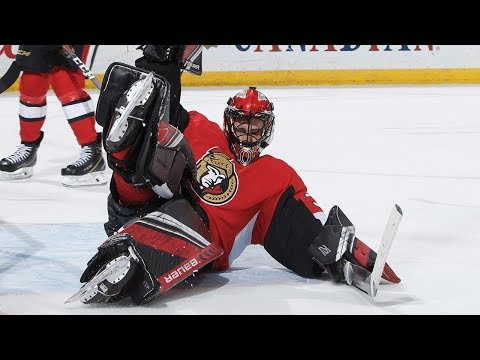 Mike McKenna goes old school, stacks the pads for sliding save on Kuraly