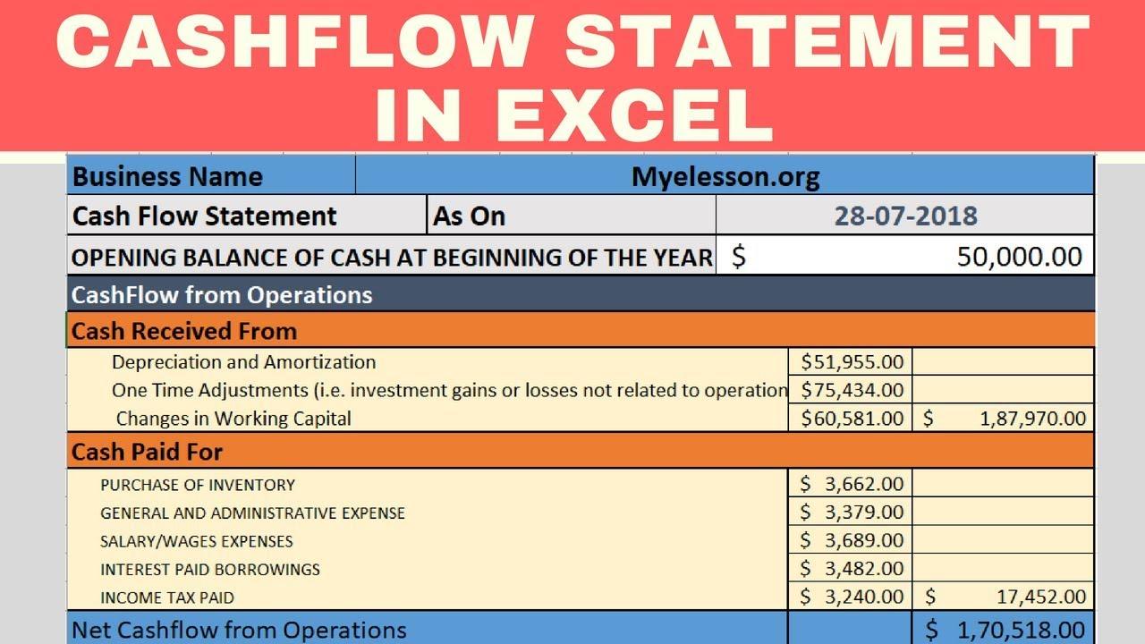 make cash flow statement in excel