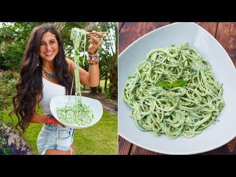 Creamy Mint Alfredo! FullyRaw Vegan Delicious Noodle Recipe!