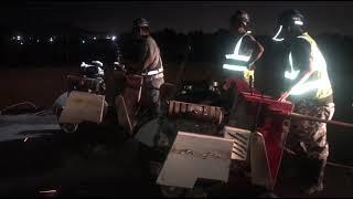 國3東勢段路面35P路切機切割,夜間施工