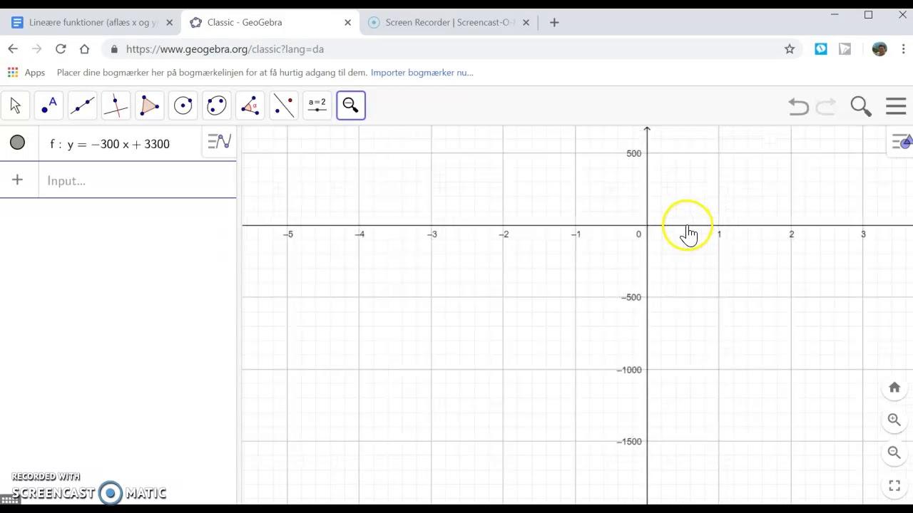Lineære funktioner i Geogebra (tegning og aflæsning)