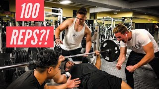 135lb BENCH PRESS REP CHALLENGE | 100 REPS ON BENCH PRESS?