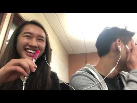 Cute Asian girl and Asian badminton boy sing naked in class