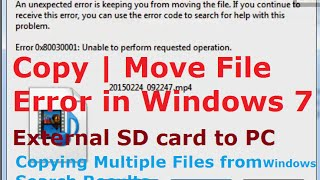 Video Error 0x80030001: Unable to perform requested operation (Copy File | Move File) Windows 7 download MP3, 3GP, MP4, WEBM, AVI, FLV Maret 2018