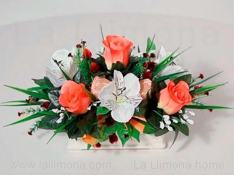 Arreglos Florales Jardinera Cerámica Alstroemerias Y Rosas Artificiales Salmón La Llimona