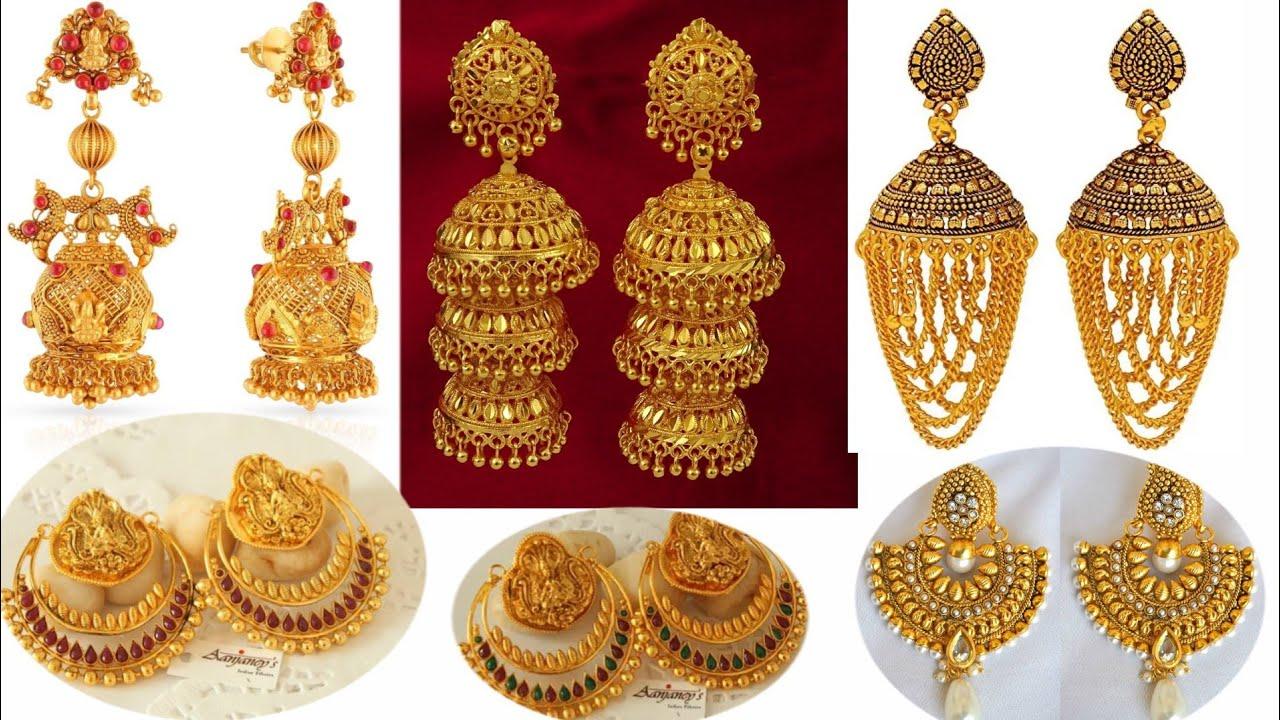 Latest 2018 Gold Earrings Design Jhumkas Jewellery