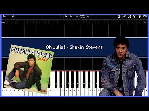 Oh Julie! - Shakin' Stevens (Synthesia) [Tutorial] [Instrumental Video] [Download]
