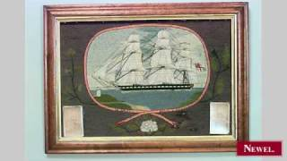 Antique English Country Victorian Maple Framed Embroidery
