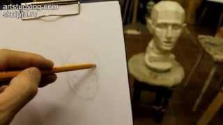 Обучение рисунку. Портрет.7 серия: наброски обрубовочной головы