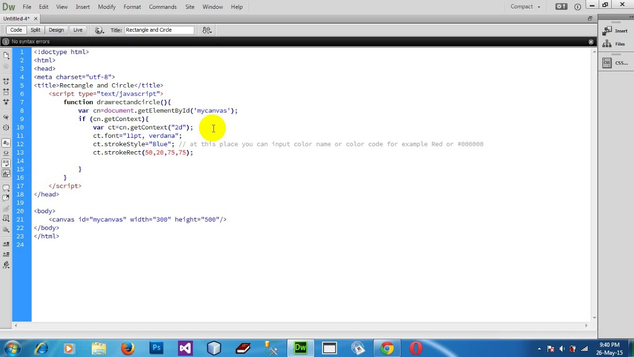 How To Draw Rectangle And Circle Shape In Html5 Canvas Using